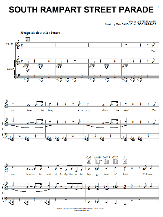 Steve Allen South Rampart Street Parade sheet music notes and chords. Download Printable PDF.