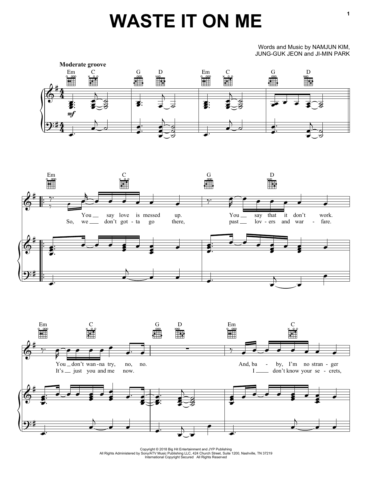 Steve Aoki Waste It On Me Feat Bts Sheet Music Notes