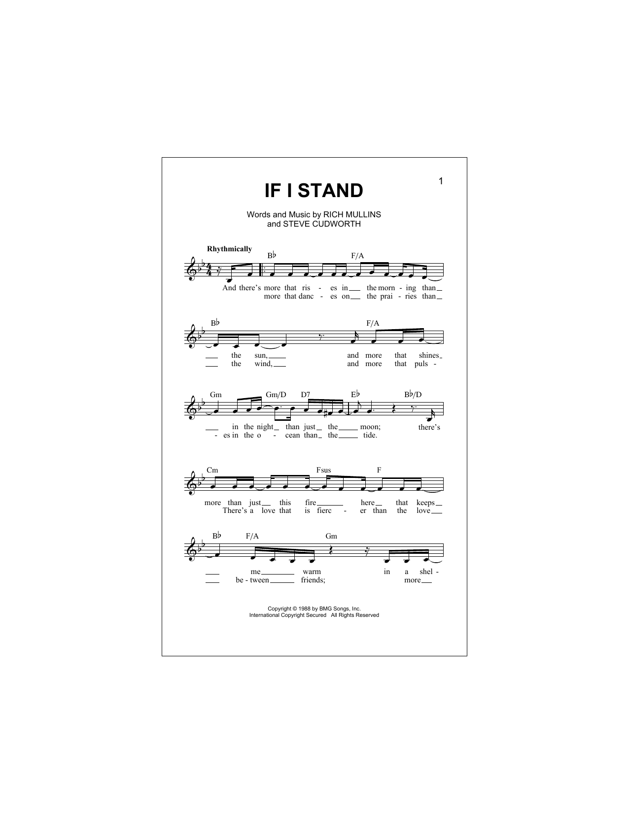 Steve Cudworth If I Stand sheet music notes and chords. Download Printable PDF.