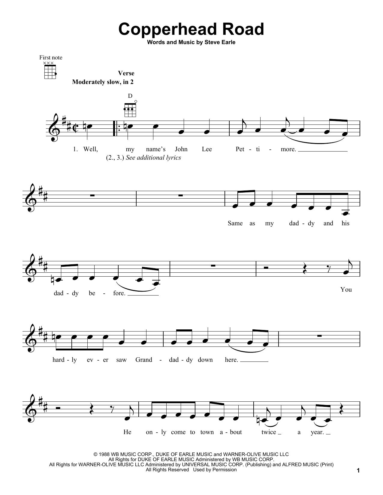 Steve Earle Copperhead Road Sheet Music Notes, Chords   Download Printable  Ukulele PDF Score   SKU 15