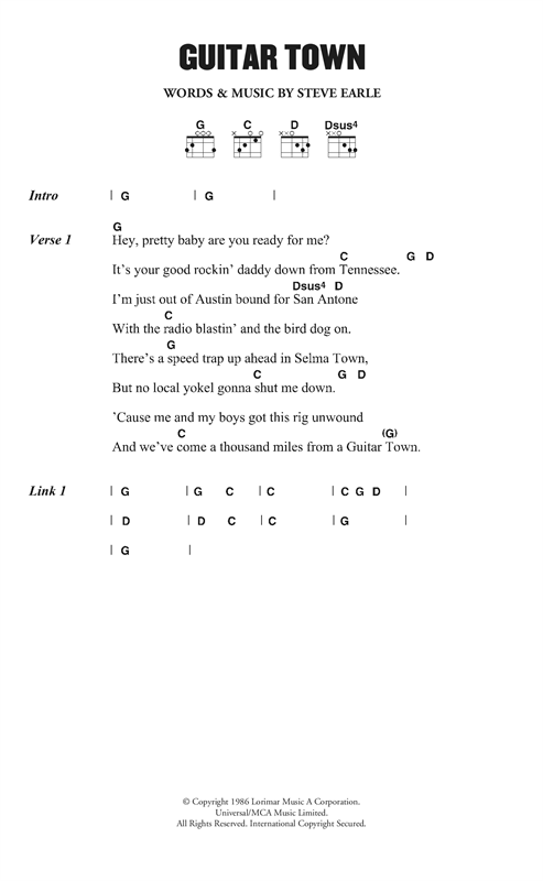 Steve Earle Guitar Town sheet music notes and chords. Download Printable PDF.