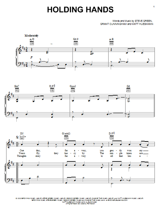 Steve Green Holding Hands sheet music notes and chords. Download Printable PDF.