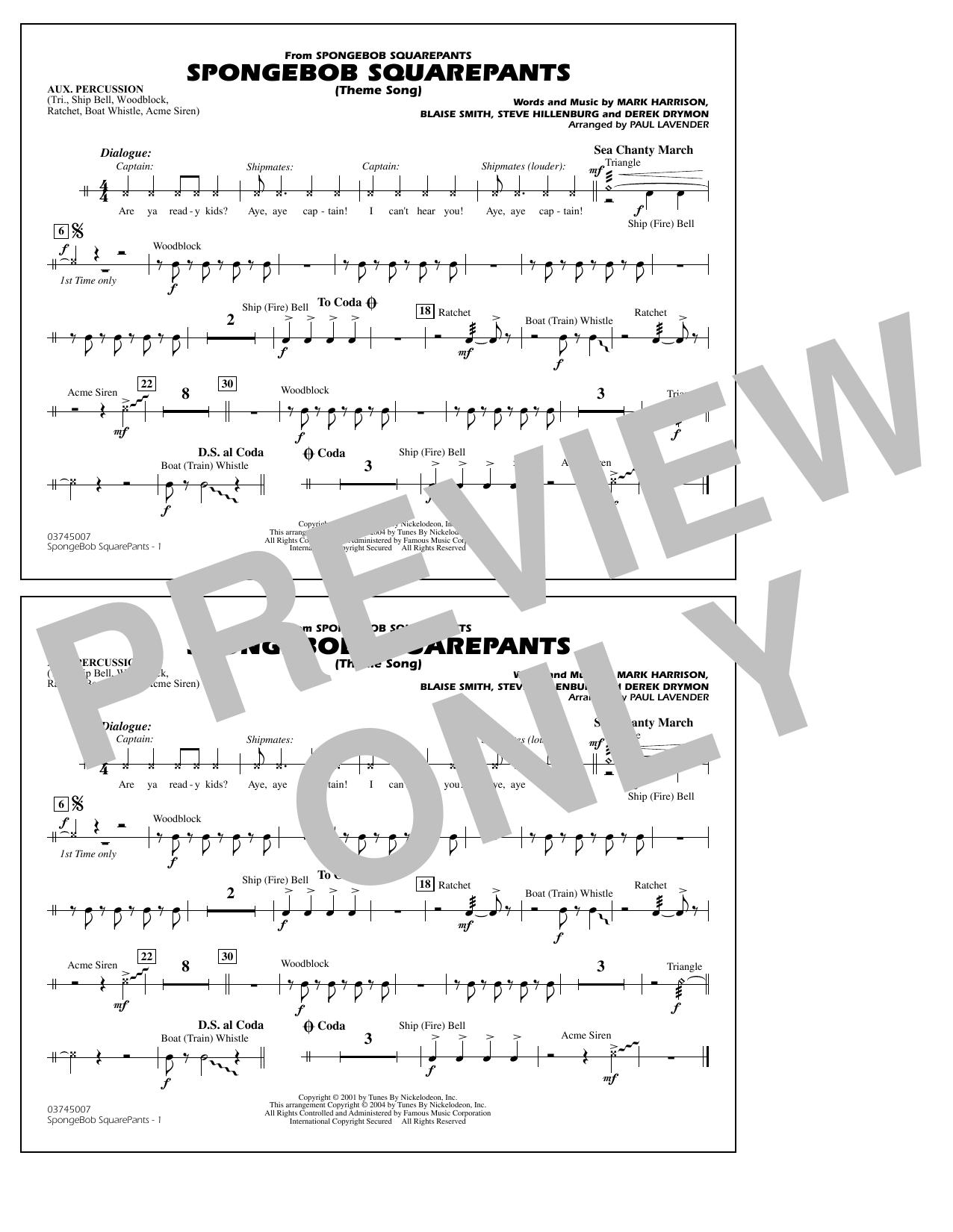 Steve Hillenburg Spongebob Squarepants (Theme Song) (arr. Paul Lavender) - Aux Percussion sheet music notes and chords. Download Printable PDF.