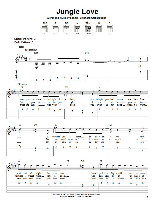 Steve Miller Band Jungle Love sheet music notes and chords. Download Printable PDF.