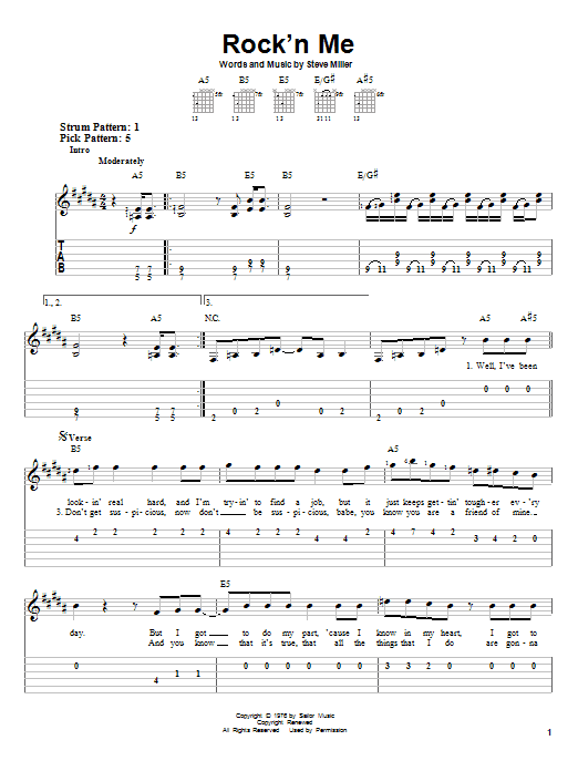Steve Miller Band Rock'n Me sheet music notes and chords. Download Printable PDF.