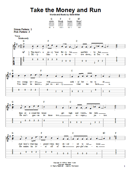 Steve Miller Band Take The Money And Run sheet music notes and chords. Download Printable PDF.