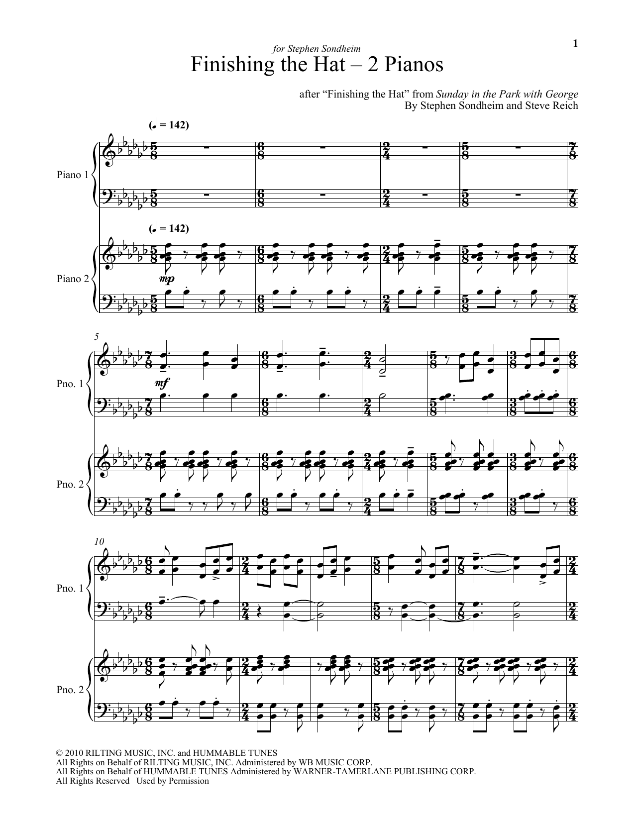 Steve Reich Finishing The Hat - Two Pianos sheet music notes and chords