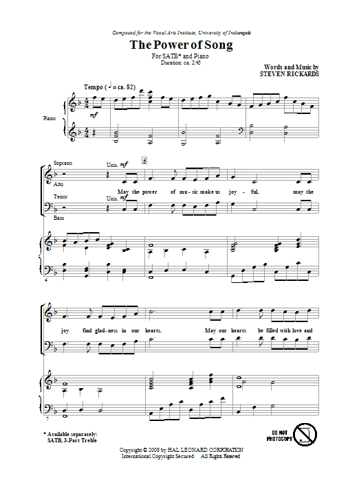 Steve Rickards The Power Of Song sheet music notes and chords. Download Printable PDF.