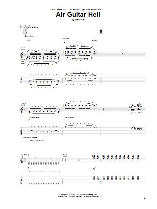 Steve Vai Air Guitar Hell sheet music notes and chords. Download Printable PDF.