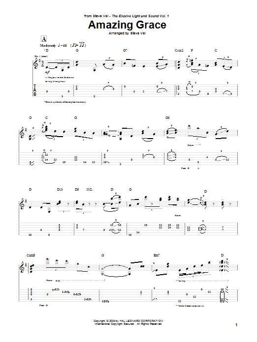 Steve Vai 'Amazing Grace' Sheet Music Notes, Chords | Download Printable  Guitar Tab - SKU: 28336