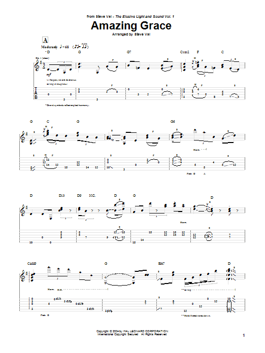 Steve Vai Amazing Grace sheet music notes and chords. Download Printable PDF.