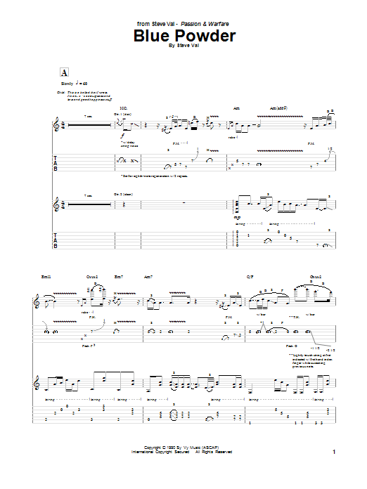 Steve Vai Blue Powder sheet music notes and chords. Download Printable PDF.
