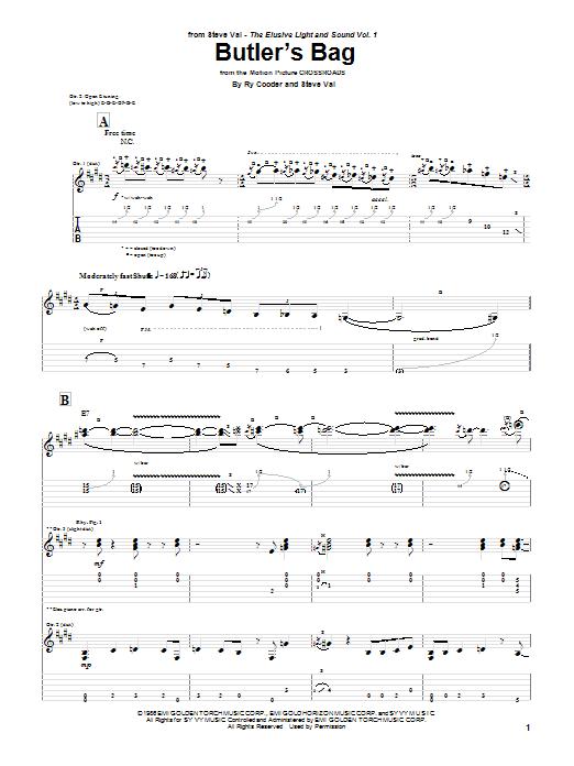 Steve Vai Butler's Bag sheet music notes and chords. Download Printable PDF.