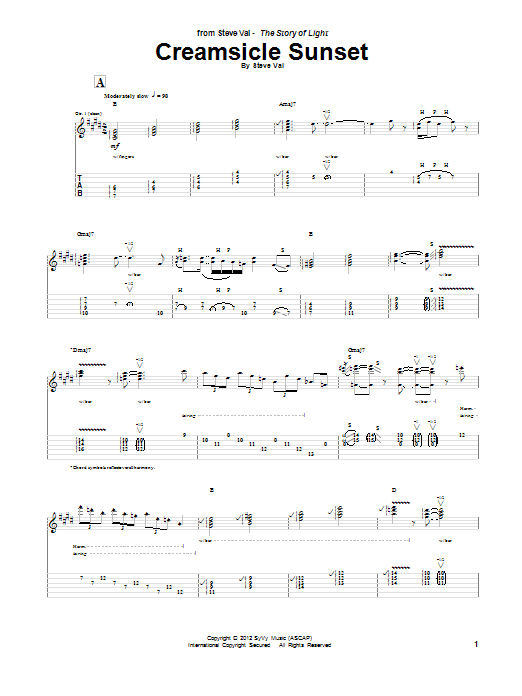 Steve Vai Creamsicle Sunset sheet music notes and chords. Download Printable PDF.