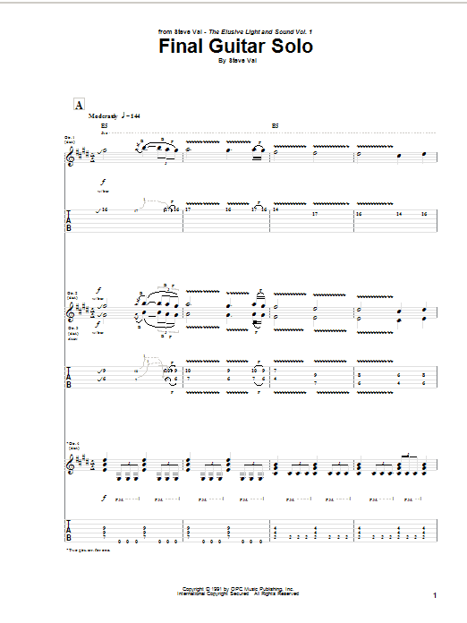 Steve Vai Final Guitar Solo sheet music notes and chords. Download Printable PDF.