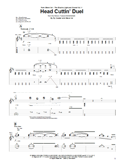 Steve Vai Head Cuttin' Duel sheet music notes and chords. Download Printable PDF.