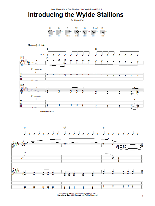 Steve Vai Introducing The Wylde Stallions sheet music notes and chords. Download Printable PDF.