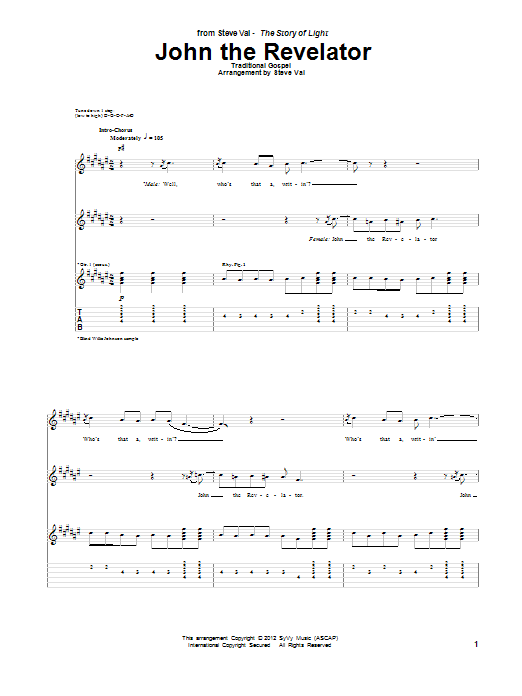 Steve Vai John The Revelator sheet music notes and chords. Download Printable PDF.