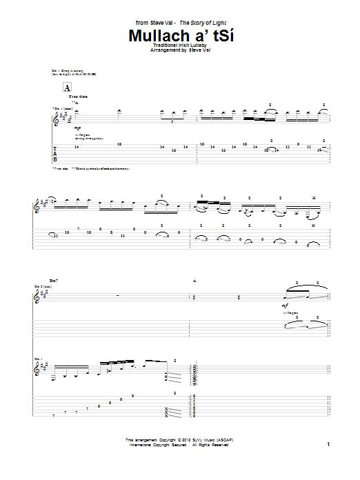 Steve Vai Mullach a'tSi sheet music notes and chords. Download Printable PDF.