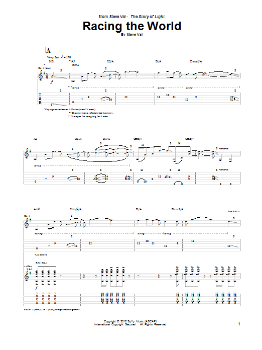 Steve Vai Racing The World sheet music notes and chords. Download Printable PDF.