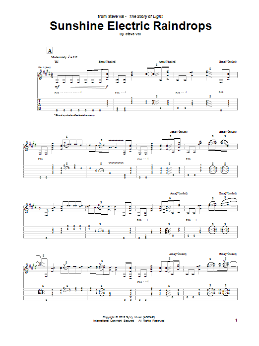 Steve Vai Sunshine Electric Raindrops sheet music notes and chords. Download Printable PDF.