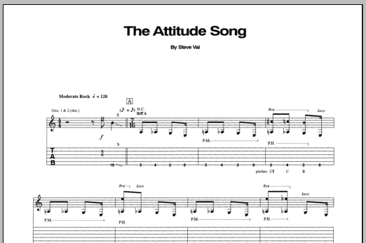 Steve Vai The Attitude Song sheet music notes and chords. Download Printable PDF.