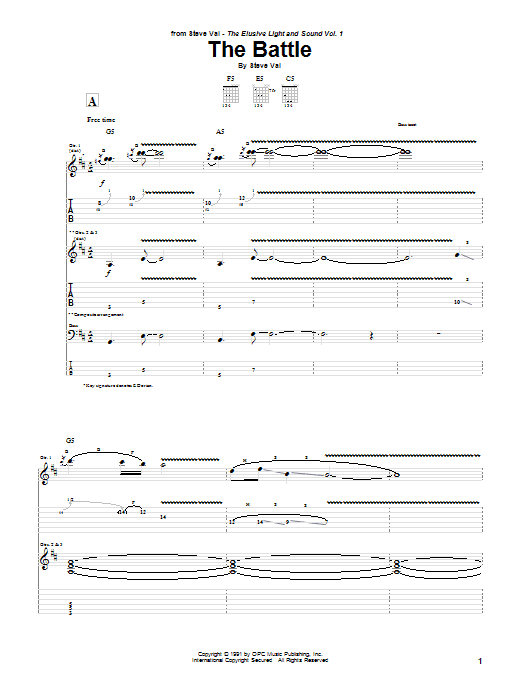 Steve Vai The Battle sheet music notes and chords. Download Printable PDF.