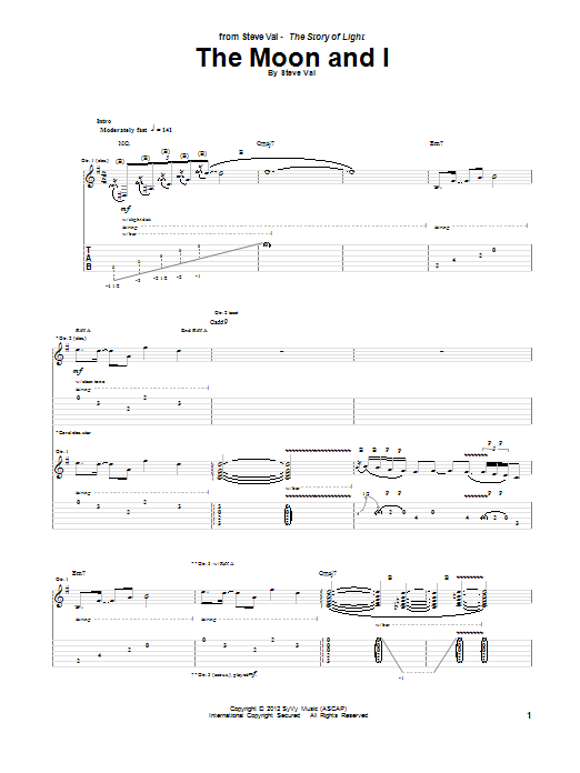 Steve Vai The Moon And I sheet music notes and chords. Download Printable PDF.
