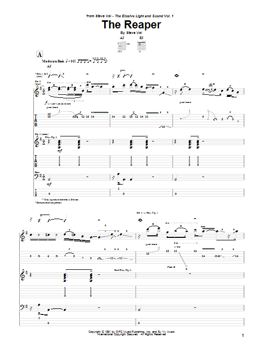 Steve Vai The Reaper sheet music notes and chords. Download Printable PDF.