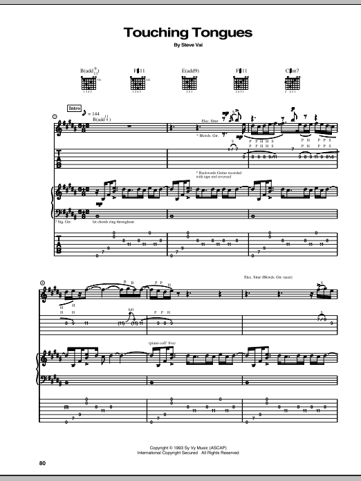 Steve Vai Touching Tongues sheet music notes and chords