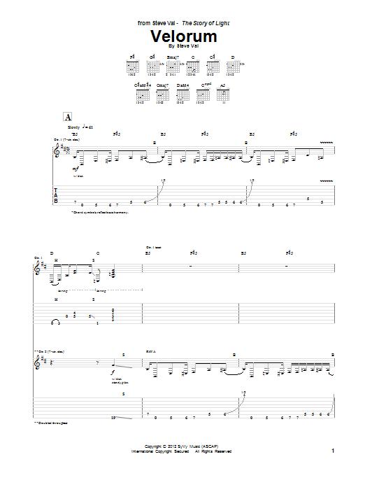 Steve Vai Velorum sheet music notes and chords. Download Printable PDF.