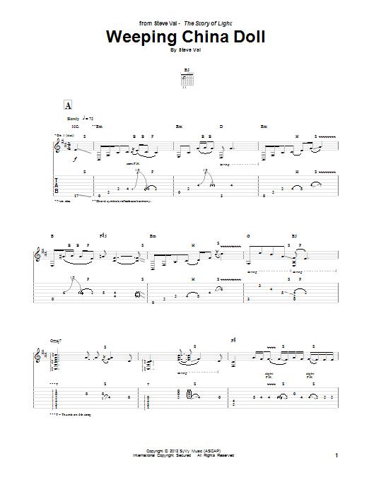 Steve Vai Weeping China Doll sheet music notes and chords. Download Printable PDF.