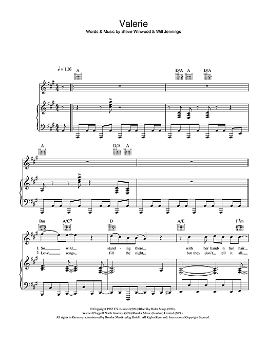 Steve Winwood Valerie sheet music notes and chords. Download Printable PDF.