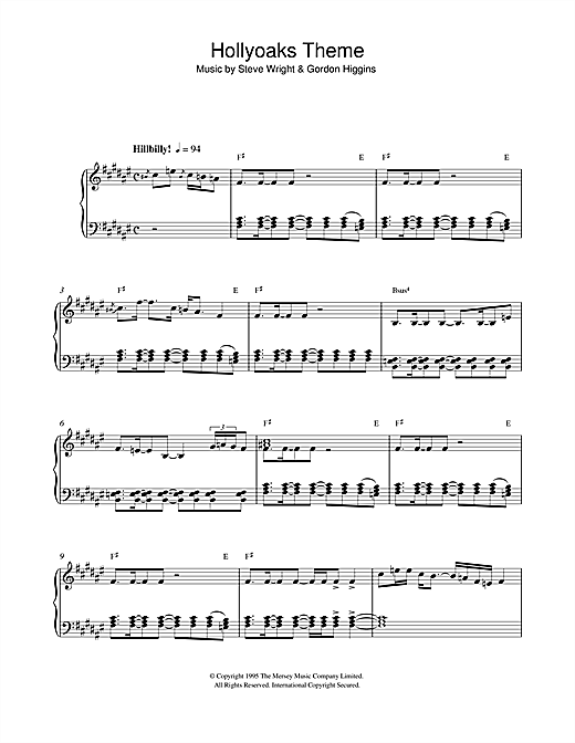Steve Wright Hollyoaks Theme sheet music notes and chords. Download Printable PDF.