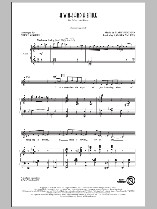 Steve Zegree A Wink And A Smile sheet music notes and chords