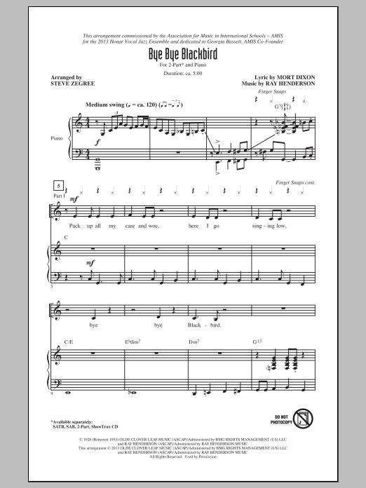 Ray Henderson Bye Bye Blackbird (arr. Steve Zegree) sheet music notes and chords. Download Printable PDF.