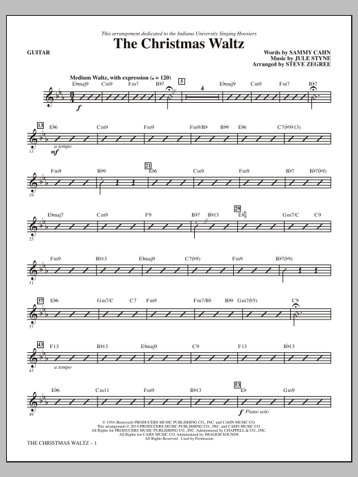 Steve Zegree The Christmas Waltz - Guitar sheet music notes and chords. Download Printable PDF.