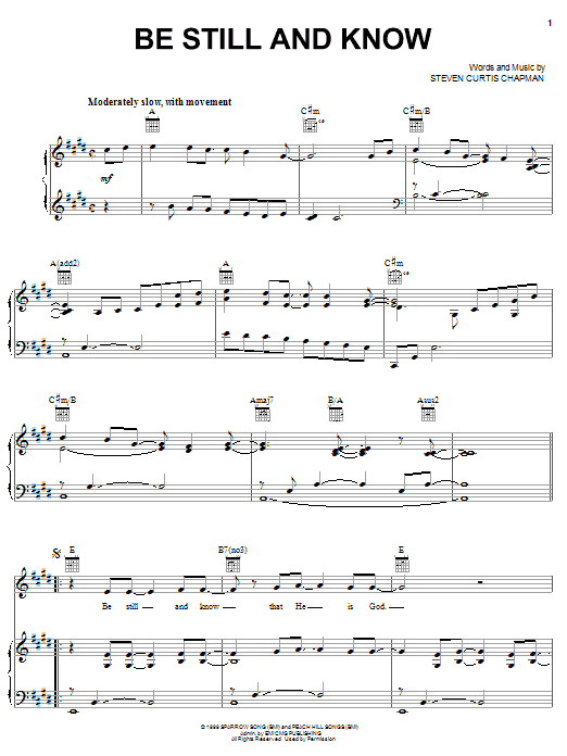Steven Curtis Chapman Be Still And Know sheet music notes and chords. Download Printable PDF.