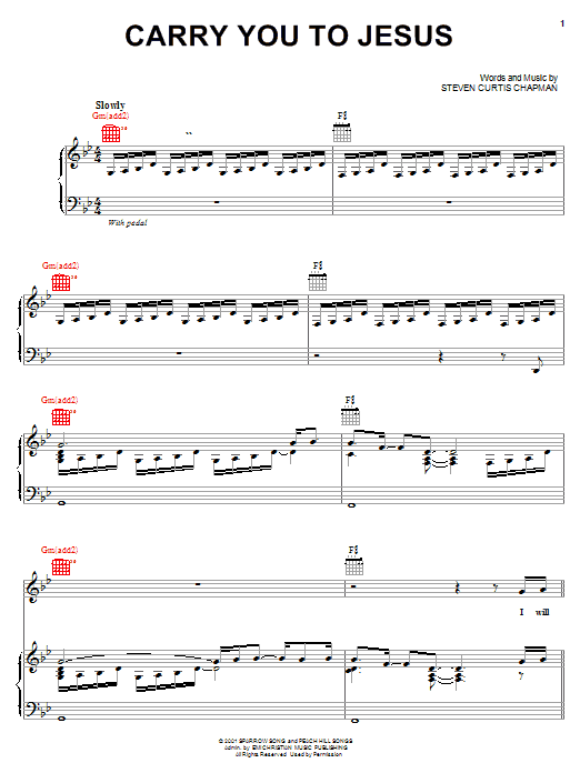 Steven Curtis Chapman Carry You To Jesus sheet music notes and chords. Download Printable PDF.