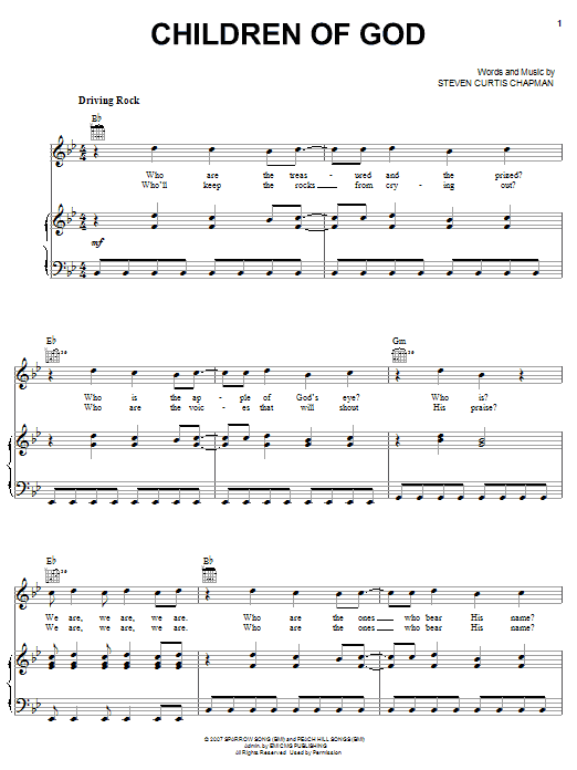 Steven Curtis Chapman Children Of God sheet music notes and chords. Download Printable PDF.