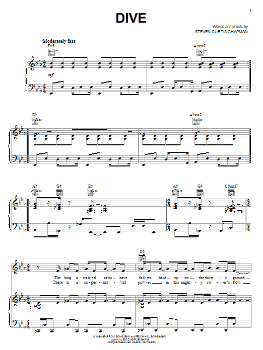 Steven Curtis Chapman Dive sheet music notes and chords. Download Printable PDF.