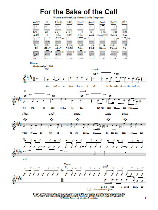Steven Curtis Chapman For The Sake Of The Call sheet music notes and chords