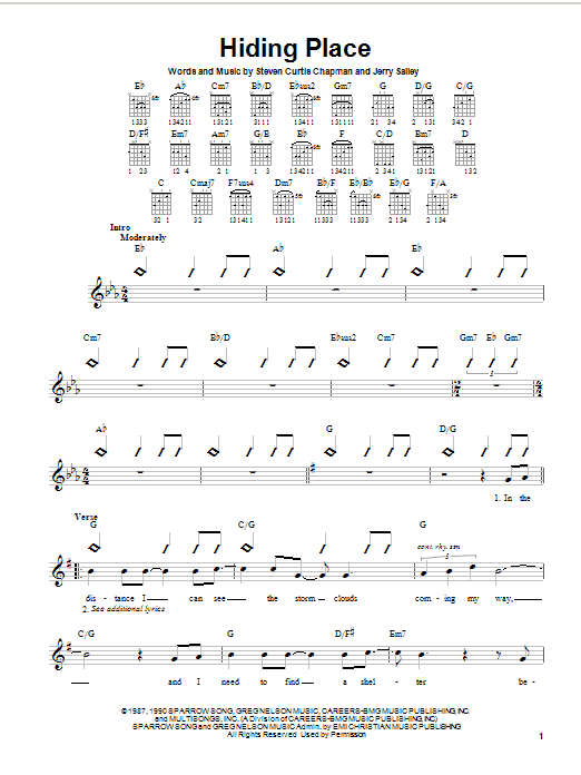 Steven Curtis Chapman Hiding Place sheet music notes and chords. Download Printable PDF.