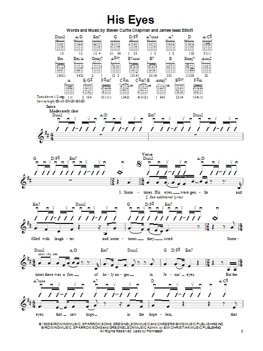 Steven Curtis Chapman His Eyes sheet music notes and chords. Download Printable PDF.