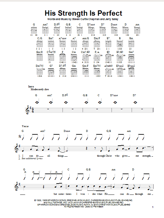 Steven Curtis Chapman His Strength Is Perfect sheet music notes and chords. Download Printable PDF.
