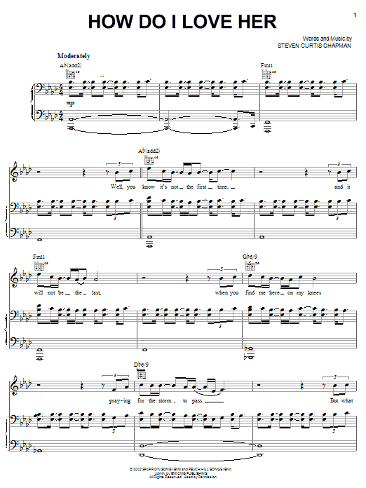 Steven Curtis Chapman How Do I Love Her sheet music notes and chords. Download Printable PDF.