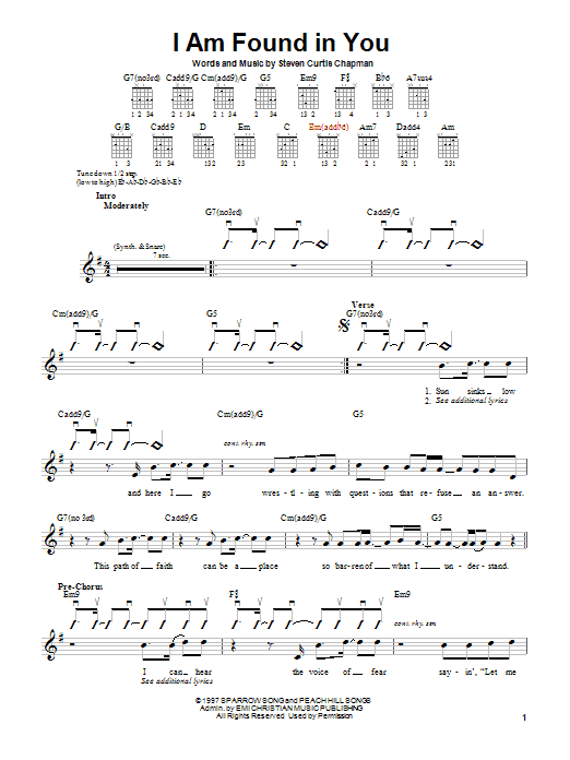 Steven Curtis Chapman I Am Found In You sheet music notes and chords. Download Printable PDF.
