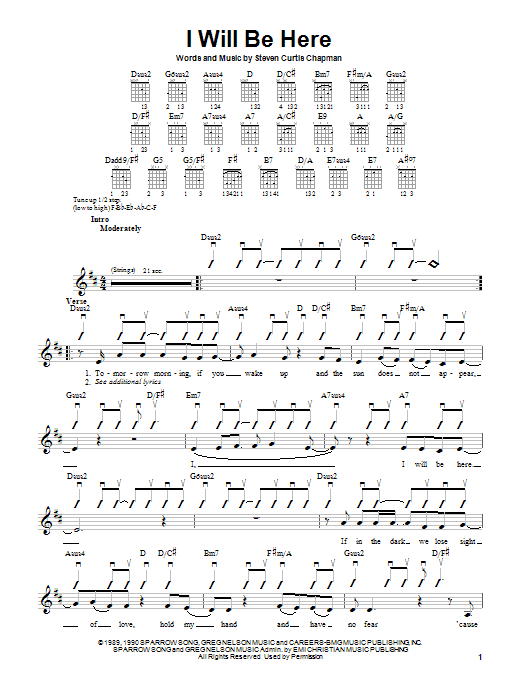 Steven Curtis Chapman I Will Be Here sheet music notes and chords. Download Printable PDF.