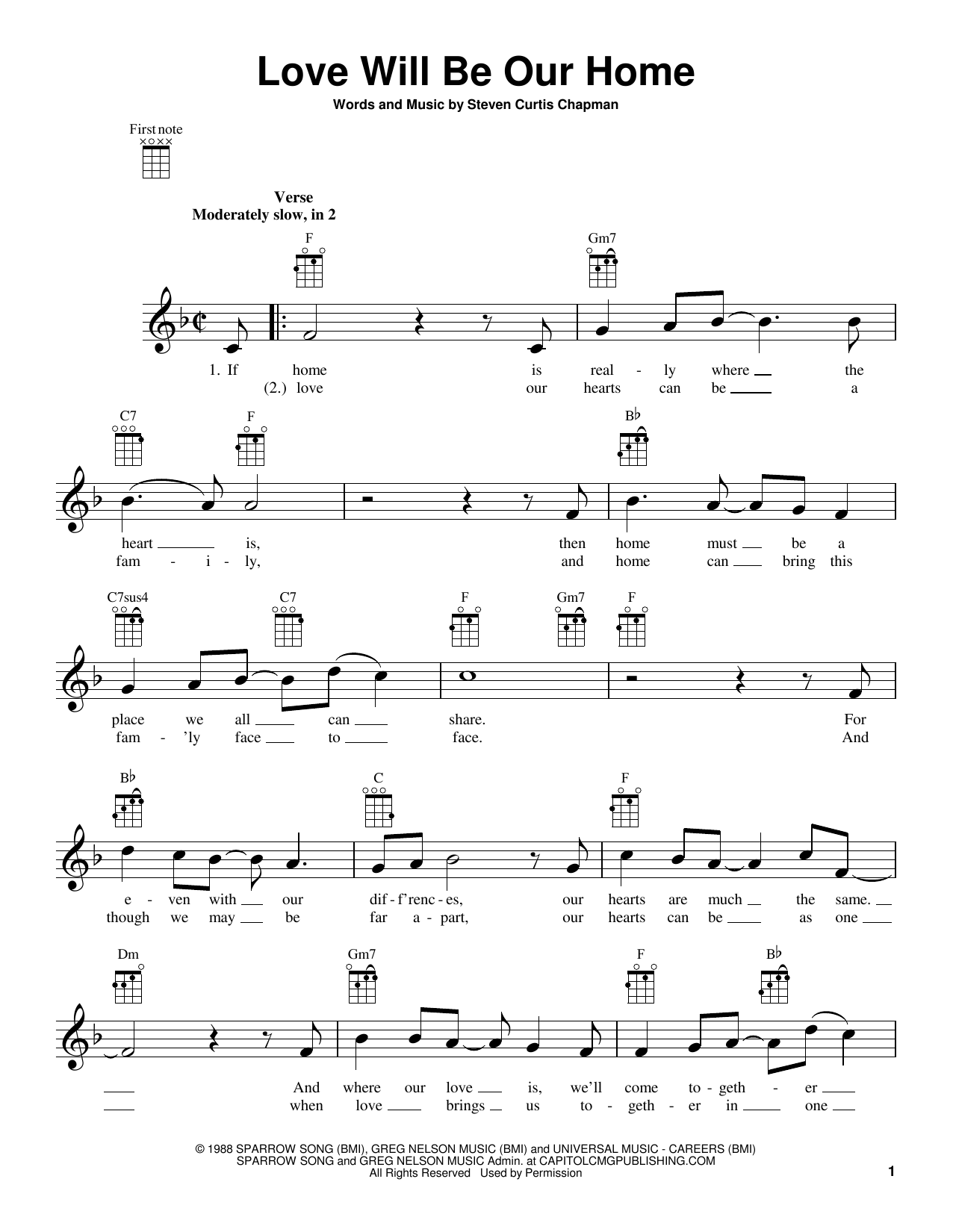 Steven Curtis Chapman Love Will Be Our Home sheet music notes and chords. Download Printable PDF.