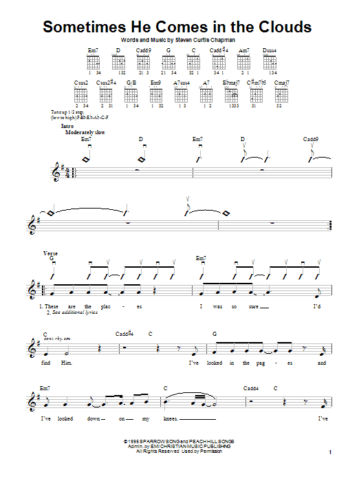 Steven Curtis Chapman Sometimes He Comes In The Clouds sheet music notes and chords. Download Printable PDF.